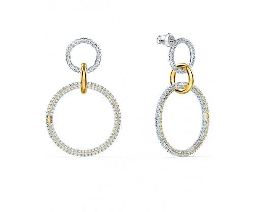 SWAROVSKI Stone Hoop Pierced Earrings, White, Mixed metal finish