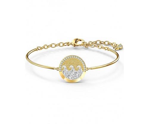 SWAROVSKI Shine Wave Bangle, Light multi-colored, Gold-tone plated