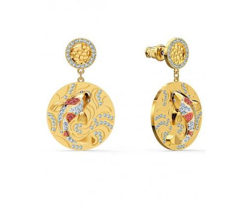 SWAROVSKI Shine Fish Pierced Earrings, Red, Goldtone plated