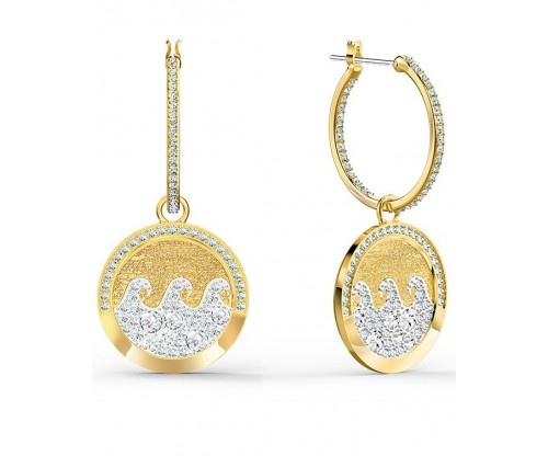 SWAROVSKI Shine Wave Pierced Earrings, Light multi-colored, Goldtone plated