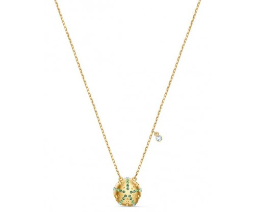 SWAROVSKI Shine Urchin Pendant, Green, Goldtone plated