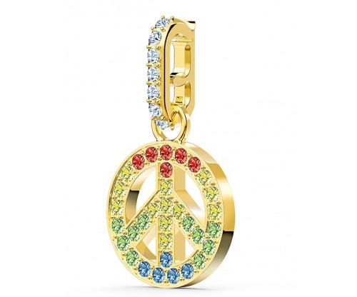 SWAROVSKI Remix Collection Peace Charm, Light multi-colored, Gold-tone plated