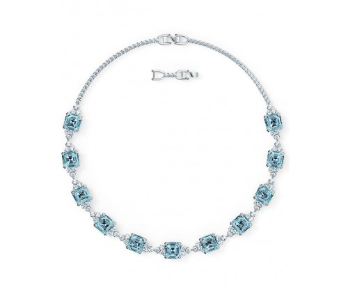 SWAROVSKI Sparkling Necklace, Aqua, Rhodium plated