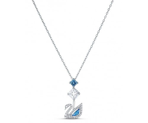SWAROVSKI Dazzling Swan Necklace, Blue, Rhodium plated