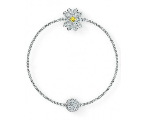 SWAROVSKI Remix Collection Flower Strand, White, Rhodium plated, Size S