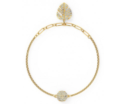 SWAROVSKI Remix Collection Tropical Leaf Strand, White, Gold-tone plated, Size S