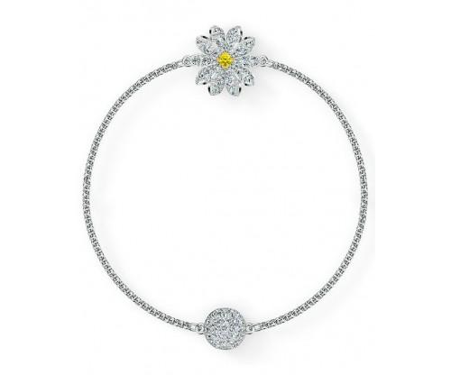 SWAROVSKI Remix Collection Flower Strand, White, Rhodium plated, Size L