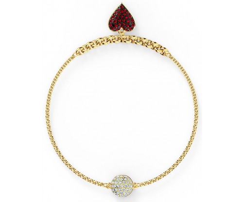 SWAROVSKI Remix Collection Heart Strand, Red, Gold-tone plated, Size L