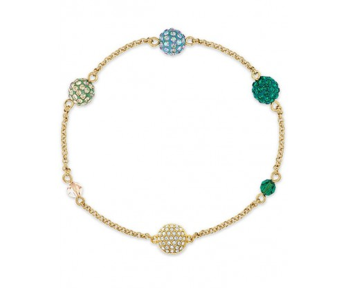 SWAROVSKI Remix Collection Pop Strand, Green, Gold-tone plated, Size S