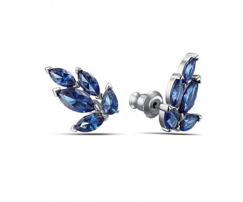 SWAROVSKI Louison Stud Pierced Earrings, Blue, Rhodium plated