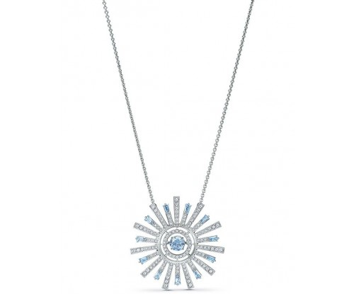 SWAROVSKI Sunshine Necklace, Blue, Rhodium plated