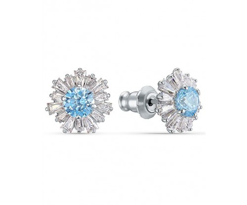 SWAROVSKI Sunshine Pierced Earrings, Blue, Rhodium plated