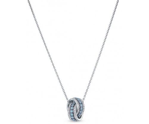 SWAROVSKI Further Pendant, Blue, Rhodium plated