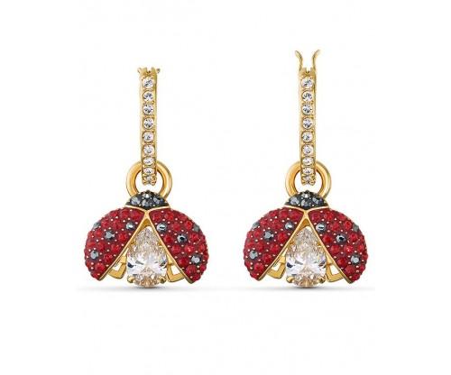SWAROVSKI Sparkling Dance Ladybug Pierced Earrings, Red, Goldtone plated