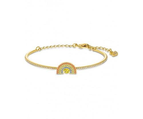 SWAROVSKI Sparkling Dance Rainbow Bangle, Light multi-colored, Gold-tone plated