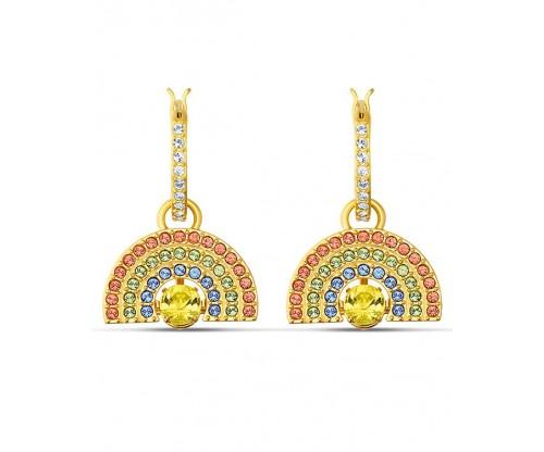 SWAROVSKI Sparkling Dance Rainbow Pierced Earrings, Light multi-colored, Goldtone plated