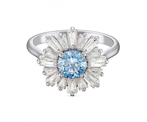 SWAROVSKI Sunshine Ring, Blue, Rhodium plated, Size 58