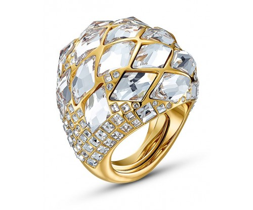 SWAROVSKI Tropical Ring, White, Gold-tone plated, Size 55-58