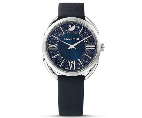 SWAROVSKI Crystalline Glam Watch, Leather strap, Blue, Stainless steel