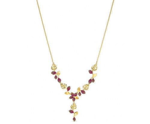 SWAROVSKI Tropical Flower Y Necklace, Pink, Gold-tone plated