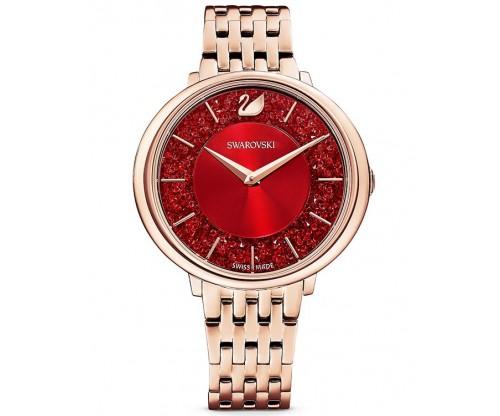 SWAROVSKI Crystalline Chic Watch, Metal bracelet, Red, Rose-gold tone PVD