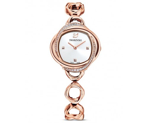 SWAROVSKI Crystal Flower Watch, Metal bracelet, Rose gold tone, Rose-gold tone PVD