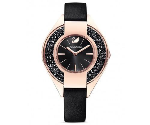 SWAROVSKI Crystalline Sporty Watch, Leather strap, Black, Rose-gold tone PVD