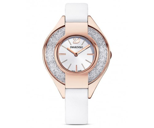SWAROVSKI Crystalline Sporty Watch, Leather strap, White, Rose-gold tone PVD