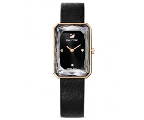 SWAROVSKI Uptown Watch, Leather strap, Black, Rose-gold tone PVD