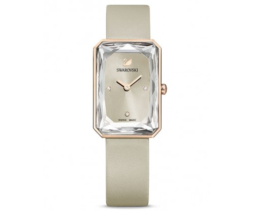 SWAROVSKI Uptown Watch, Leather strap, Gray, Rose-gold tone PVD