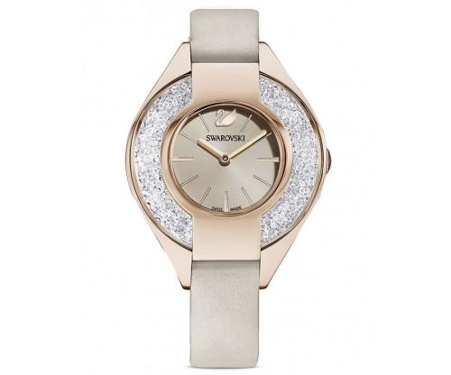 SWAROVSKI Crystalline Sporty Watch, Leather strap, Gray, Champagne-gold tone PVD