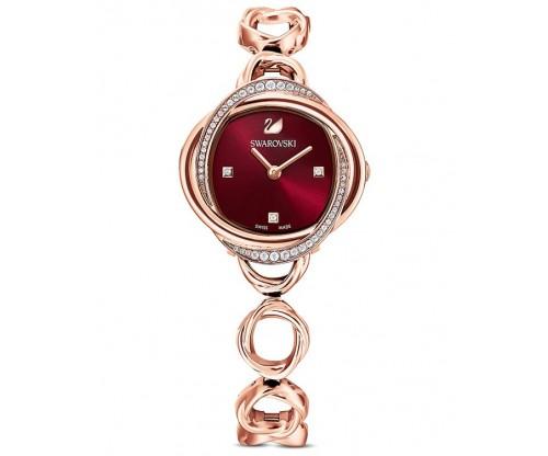 SWAROVSKI Crystal Flower Watch, Metal bracelet, Red, Rose-gold tone PVD
