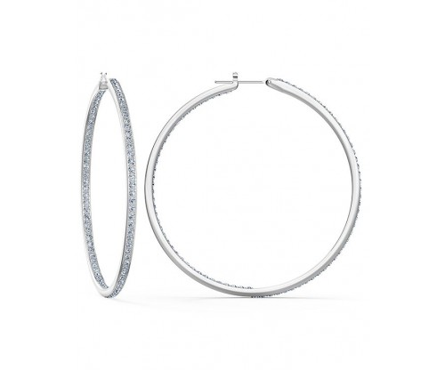 SWAROVSKI Rare Hoop Pierced Earrings, White, Rhodium plated