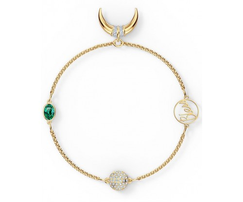 SWAROVSKI Remix Collection Horn Strand, Green, Gold-tone plated, Size M
