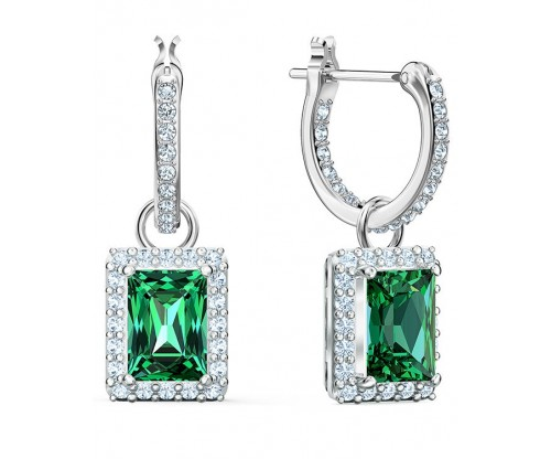 SWAROVSKI Angelic Rectangular Pierced Earrings, Green, Rhodium plated