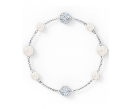 SWAROVSKI Remix Collection Pearl Strand, White, Rhodium plated, Size M