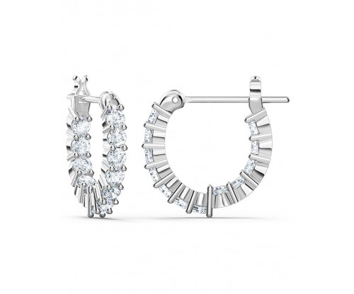 SWAROVSKI Vittore Mini Hoop Pierced Earrings, White, Rhodium plated