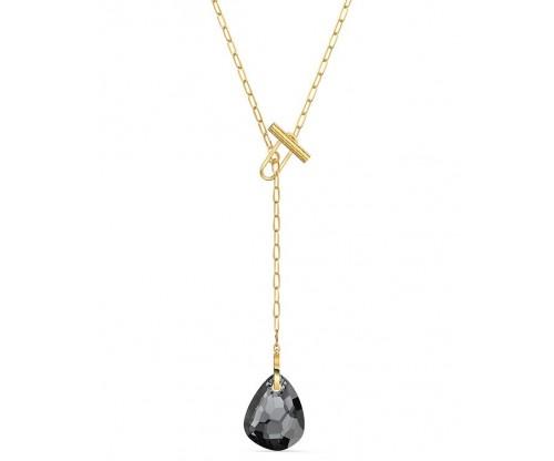 SWAROVSKI T Bar Y Necklace Gray Gold tone plated