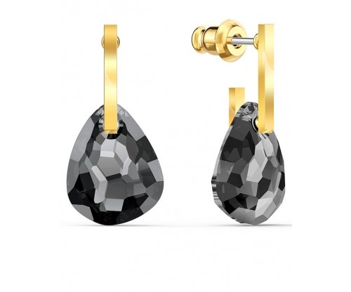 SWAROVSKI T Bar Pierced Earrings, Gray, Gold-tone plated
