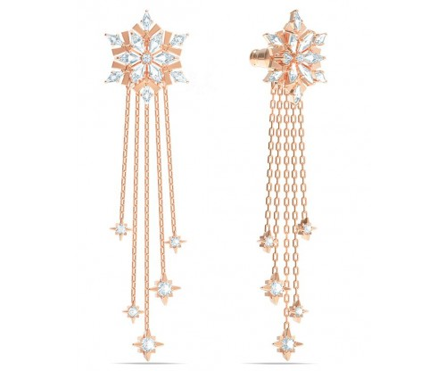 SWAROVSKI Magic Pierced Earrings, White, Rose-gold tone plated