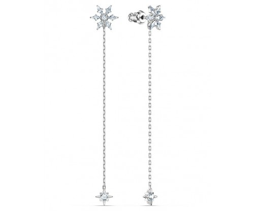 SWAROVSKI Magic Chain Pierced Earrings, White, Rhodium plated