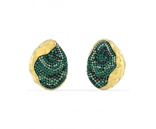 SWAROVSKI The Elements Clip Earrings, Green, Gold-tone plated