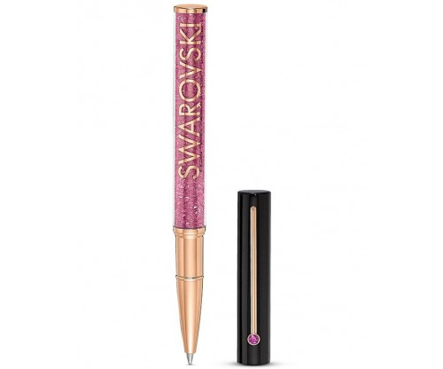 SWAROVSKI Crystalline Gloss Ballpoint Pen, Black and pink, Rose-gold tone plated