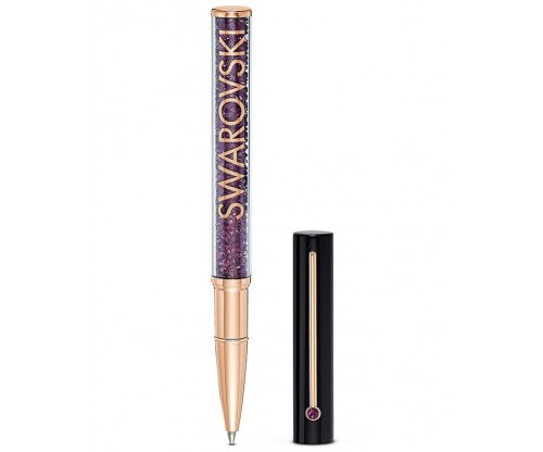 SWAROVSKI Crystalline Gloss Ballpoint Pen, Black and purple, Rose-gold tone plated