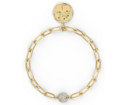 SWAROVSKI The Elements Tree Bracelet, Green, Gold-tone plated, Size M