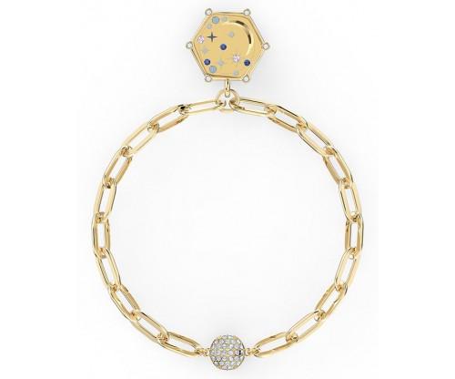 SWAROVSKI The Elements Moon Bracelet, Blue, Gold-tone plated, Size M