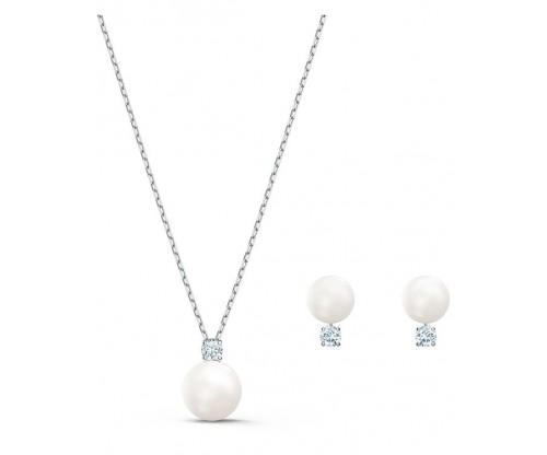 SWAROVSKI Treasure Pearl Set, White, Rhodium plated