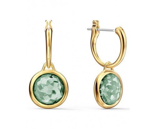 SWAROVSKI Tahlia Mini Hoop Pierced Earrings, Green, Gold-tone plated