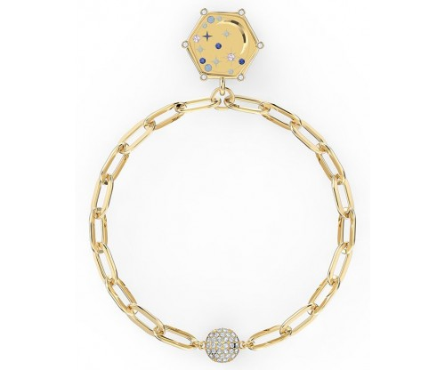 SWAROVSKI The Elements Moon Bracelet, Blue, Gold-tone plated, Size S