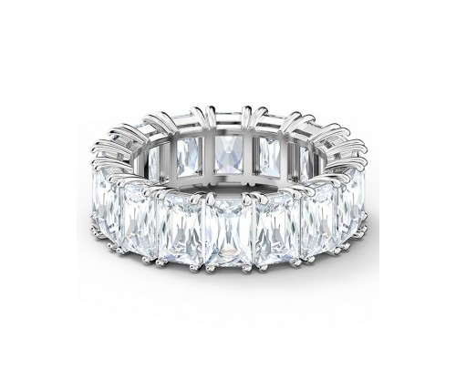 SWAROVSKI Vittore Wide Ring, White, Rhodium plated, Size 60